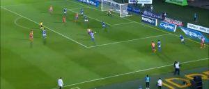 Fecha 1: Debut frente a Millonarios en Bogotá, Pasto Gana 1-2. Es el minuto 6 del partido, de visitante, ante uno de los grandes del País, en la imagen Pasto ataca con 7 jugadores el área rival y consigue irse en ventaja.