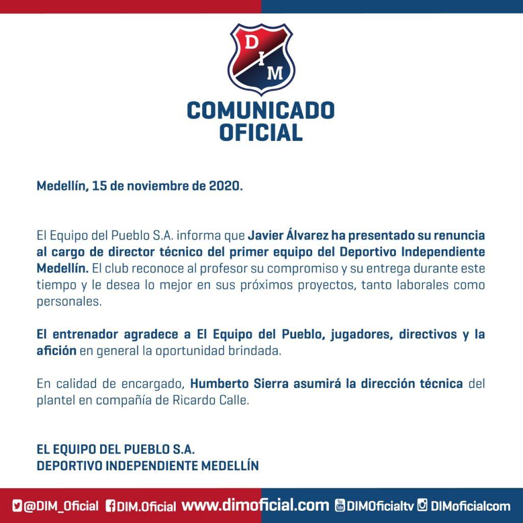 Comunicado renuncia Javier Álvarez